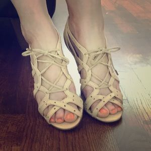 L.A.M.B. Sexy nude tie up lace up sandals.